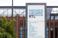 Cologne, North Rhine-Westphalia/germany - 24 10 18: rtl tv station sign in cologne germany. Cologne, North Rhine-Westphalia/germany - 24 10 18: an rtl tv station stock image
