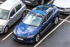 Tesla car from above in cologne germany royalty free stock images