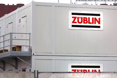 Züblin container sign in cologne germany stock images