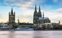 Cologne over the Rhine River with cruise ship in Cologne, German Royalty Free Stock Photography