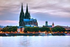 Cologne overview after sunset. Cologne overview at night after sunset stock images