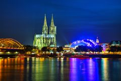 Cologne overview after sunset. Cologne overview at night after sunset royalty free stock photos