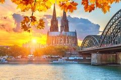 Cologne på solnedgången arkivbild