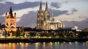 Cologne panorama at dusk with clouds stock footage