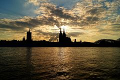 Cologne City in the sunset stock photography