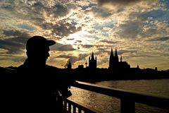 Cologne City in the sunset stock photos