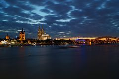 Cologne City in the night stock photo