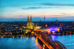 Cologne panoramic aerial overview after sunset royalty free stock image