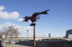 The Cologne. The promenade. Iron bird. Stock Photography