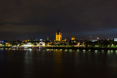 Cologne on the Rhine river at night Stock Photo