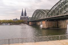 Cologne river view on cologne cathedral. Germany Cologne right Rhine river promenade view on cologne cathedral Royalty Free Stock Photo