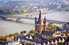 Cologne scene- church and river Rhine Royalty Free Stock Images