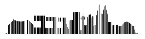 Cologne Skyline Barcode Vector. Cologne Vector Barcode Skyline Design Typography Royalty Free Stock Image