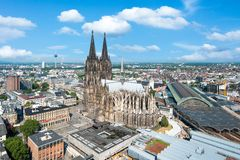 Cologne Skyline with Cathedral Dom Royalty Free Stock Photography
