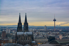 Cologne Skyline with Cathedral and TV Tower in Early Sunset royalty free stock images