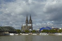 Cologne - Skyline with Cologne Cathedral Stock Photography