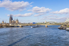 Cologne skyline with dome and bridge Stock Images
