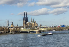 Cologne skyline with dome and bridge Royalty Free Stock Images