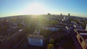 Cologne skyline, Germany large city sky line above view aerial stock footage