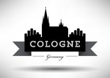 Cologne Skyline with Typographic Design royalty free illustration