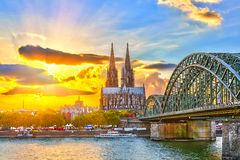 Cologne at sunset Stock Image