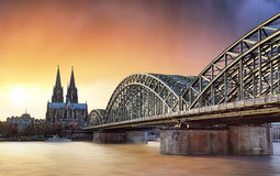 Cologne at sunset, Germany royalty free stock photography
