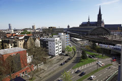 Cologne train station. You can see the train station of cologne with the famous church or cathedral in the background. This is the streets where you can find the Stock Photography