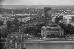 Cologne with a view from above in black and white Stock Photography