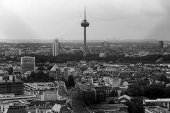 Cologne with a view from above in black and white Stock Image