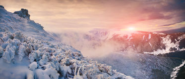 Cologrul-Morgenpanorama in den Karpatenbergen Stockfotos