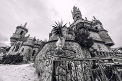 Colomares Castle, black and white. Benalmadena town. Spain Royalty Free Stock Images