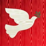 Colomba di legno di natale di pace Immagini Stock Libere da Diritti