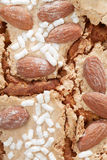 Colomba, Easter cake with almonds background Stock Photo