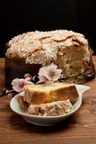 Typical italian eastern dessert `Colomba`. royalty free stock images