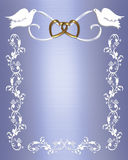 Colombe di bianco dell'invito di cerimonia nuziale Immagini Stock Libere da Diritti
