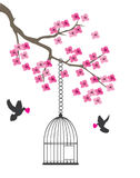 Colombe et cage illustration stock