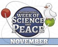 Colombe satellisant une semaine d'Atom Promoting International Science et de paix, illustration de vecteur illustration de vecteur