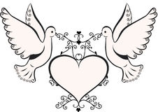 Colombes avec la trame de coeur Image libre de droits