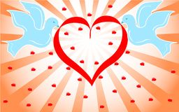 Colombes bleues retenant le coeur rouge. vecteur   Images libres de droits