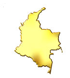 Colombia 3d Golden Map Royalty Free Stock Photography