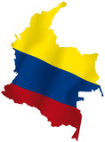 Colombia. Vector illustration of a map and flag from Colombia