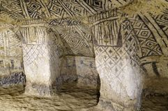 Colombia, Ancient tomb in Tierradentro. Colombia, Tierradentro (7th and 9th) is one great pre Columbian attractions. There are burial caves painted with red stock photography