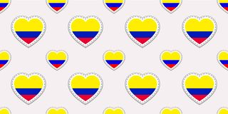 Colombia background. Colombian flag seamless pattern. Vector stikers. Love hearts symbols. For sports pages, travel, school geogra stock illustration