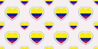 Colombia bakgrund Sömlös modell för colombiansk flagga Vektorstikers Förälskelsehjärtasymboler För sportsidor lopp, skolageogra stock illustrationer