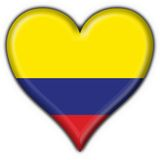 Colombia button flag heart shape Royalty Free Stock Image