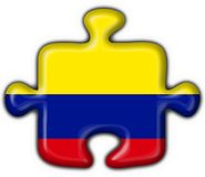 Colombia button flag puzzle shape Stock Photo
