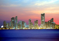 Colombia. Cartagena. The city at night. The most charming city of Colombia is beautiful at sunset royalty free stock image