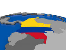 Colombia on 3D globe Stock Photography