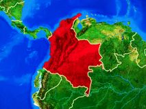 Colombia on Earth with borders. Colombia from space on model of planet Earth with country borders and very detailed planet surface. 3D illustration. Elements of stock photo