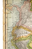 Colombia and Ecuador on vintage map Royalty Free Stock Photos